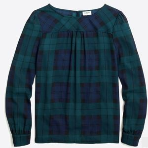 J. Crew Factory Black Watch Plaid Top With Piping